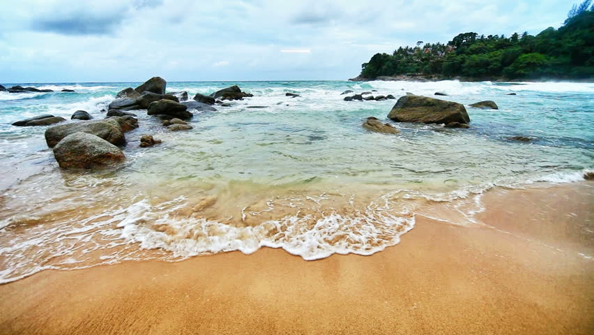1920x1080 hidef, hdv - Sea surf in a tranquil tropical bay. Thailand, Phuket.
