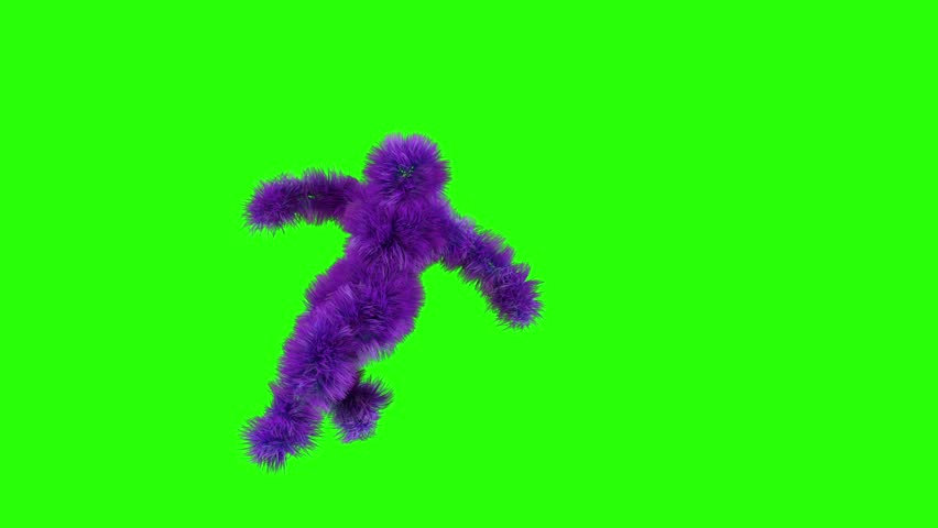 Colorful character break dancing against greeen screen Background