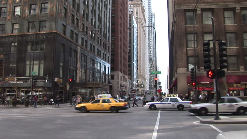 Chicago, IL - CIRCA September 2007: Traffic going both directions as seen from street level during the day
