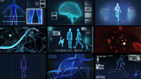 Montage digital motion graphic of a virtual 3D of running man for medical and scientific research data