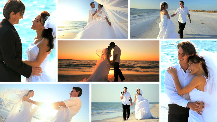 Montage selection island sunset wedding young Caucasian couple beach