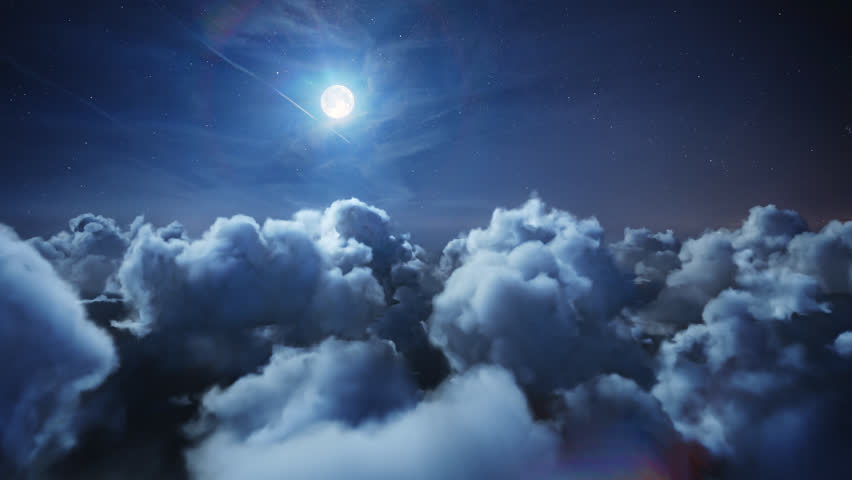 Flying over the deep night timelapse clouds with moon light. Seamlessly looped animation. Flight through moving cloudscape with beautiful moon. Perfect for cinema, background, digital composition. | Shutterstock HD Video #25406705