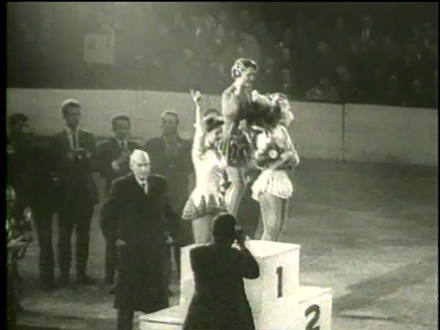 Carol Heiss from USA, Ingrid Wendl and Hanna Walter, both from Austria, at World Figure Skating Championship in Paris circa 1958 - MGM PICTURES, UNIVERSAL-INTERNATIONAL NEWSREEL, USA, filmed in 1958