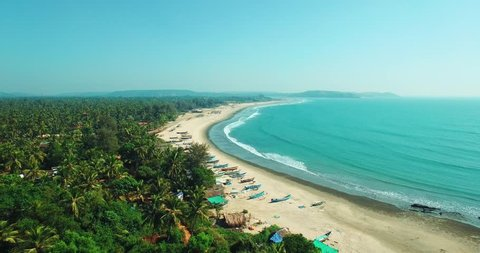 Aerial view of beach in Mandrem Goa, India.