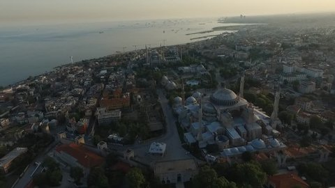 Aerial Footage Blue Mosque in Istanbul (Sultanahmet), Historic istanbul aerial,