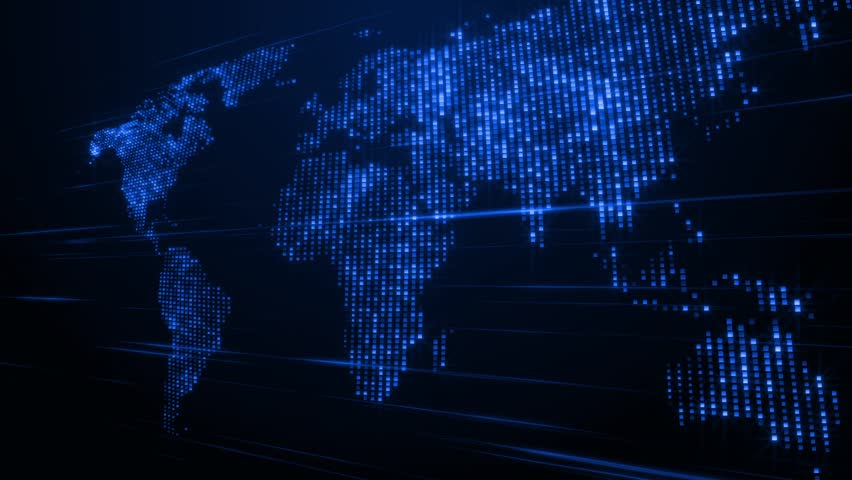 World map with connections and city lights loopable world map a shimmering and stylized map of the world hd stock footage clip sciox Choice Image
