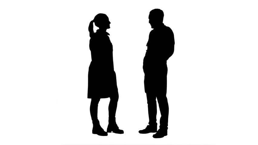 Silhouette Of Two Women Talking Amp Teenage Boy Waiting For
