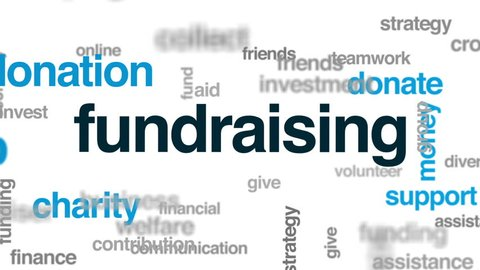 Fundraising animated word cloud, text design animation.