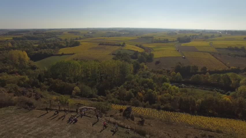 Aerial view of hiking trails hauled by mountain dogs, Beaulieu sur Layon, filmed by drone Loire Valley, Beaulieu-sur-Layon, Maine-et-Loire, France