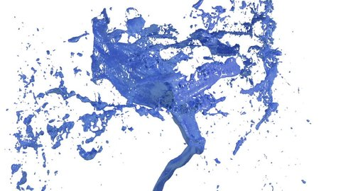 Whirlwind of blue liquid like car paint on white background  beautiful  colored paint is whirling  isolated transparent vortex of liquid 3d  animation with alpha matte  version 2