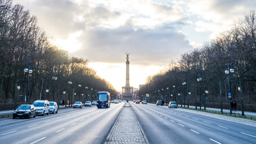 BERLIN, GERMANY – March 15, 2017: Berliner Victory Column hyperlapse tracking shot with sunset, evening Walk lapse on street to the Victory Column  | Shutterstock HD Video #25589135