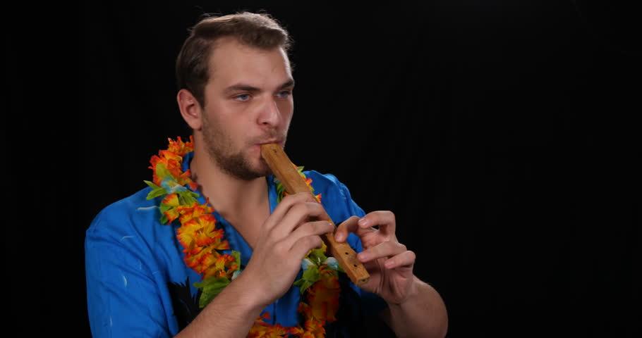 Portrait of Flutist Musician Man Playing Recorder Player Popular Music Concept