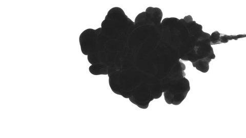 INK BACKGROUND FOR COMPOSITING. BLACK SMOKE or INK IN WATER SERIES. Watercolor dropped in water on white background. Voxel graphics. Ink dissolving in water. Version 1