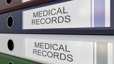 Office binders with Medical records tags