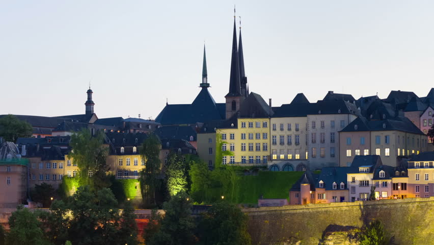 Zoom out timelapse of sunset in Luxembourg