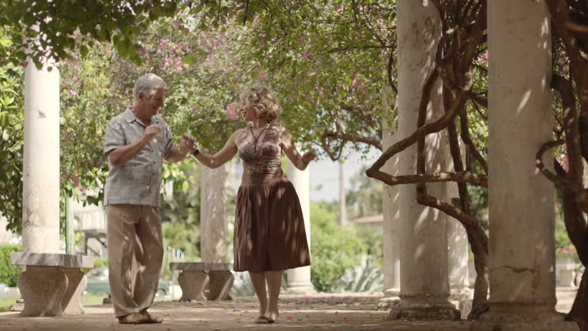 Old retired people and leisure activities, happy senior couple dancing latin american dance for fun | Shutterstock HD Video #2564255