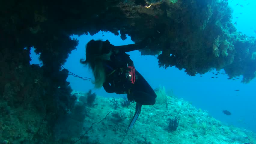 INDIAN OCEAN, MALDIVES - MARCH 2017: Young woman scuba diver views of a coral reef in the cave, Indian Ocean, Maldives   Shutterstock HD Video #25675205