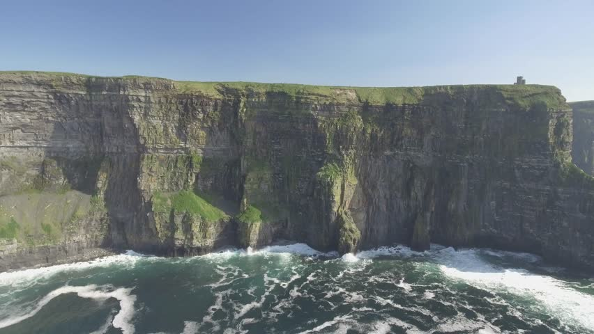 Aerial from Ireland countryside tourist attraction in County Clare. The Cliffs of Moher and Burren Ireland. Epic Irish Landscape Seascape along the wild atlantic way. Beautiful scenic nature Ireland