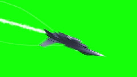 F-16 Fighting Aircraft Jet Green Screen 3D Rendering Background