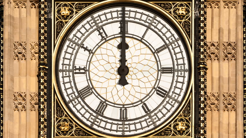 Animated time lapse of Big Ben's clock face with 12 hours passing in 30 seconds