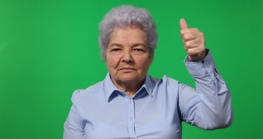 Elderly Woman Old Business Female Showing Thumb Up Sign Green Screen Background