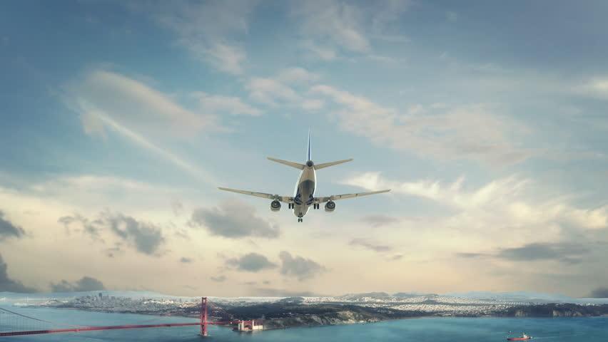 Airplane Landing San Francisco USA