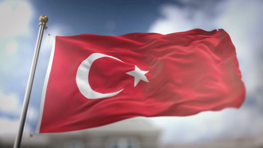 Turkey Flag Waving Slow Motion 3D Rendering Blue Sky Background - Seamless Loop 4K | Shutterstock HD Video #25724903