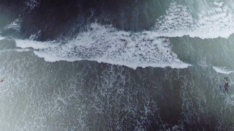 Overhead aerial, Cornwall Beach waves