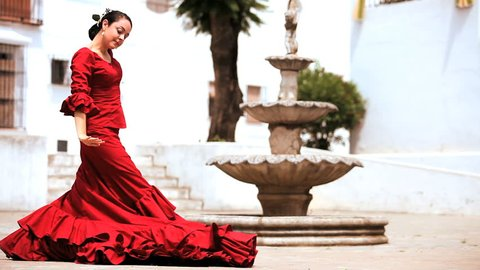 Traditional spanish flamenco being danced outdoors in Seville