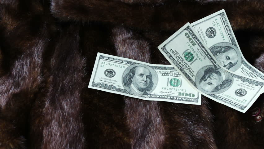 Fur coat on which the hundred-dollar bills falling   Shutterstock HD Video #25763711