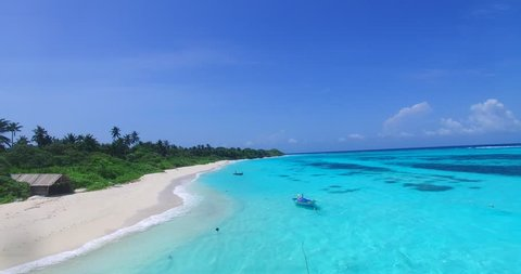 v00482 Maldives beautiful beach background white sandy tropical paradise island with blue sky sea water ocean 4k aerial drone flying helicopter shot