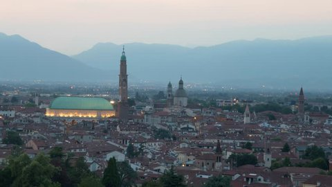 Vicenza - Panoramic view of the city-center with the Basilica Palladiana in foreground - Timelapse from sunset to dusk