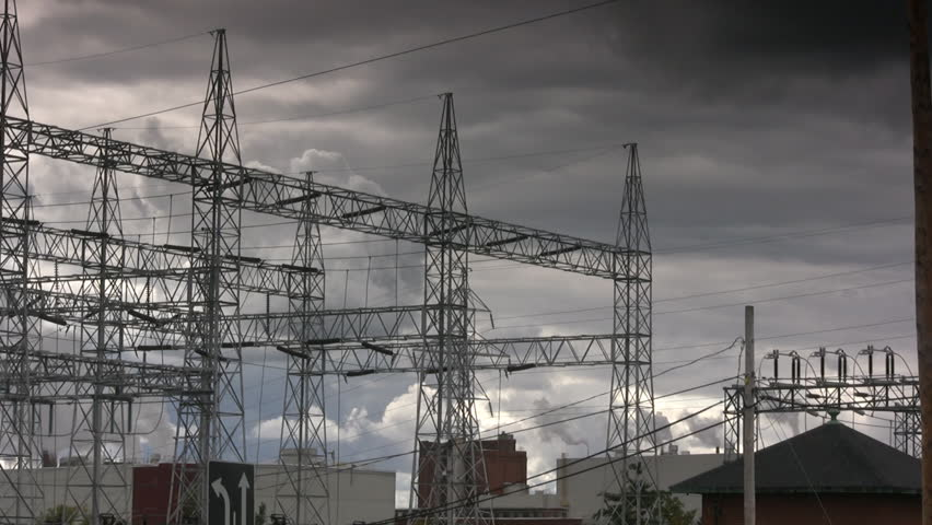 Storm Clouds Over An Electrical Power Plant