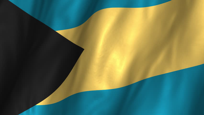 A beautiful satin finish looping flag animation of Bahamas.    A fully digital rendering using the official flag design in a waving, full frame composition.  The animation loops at 10 seconds.