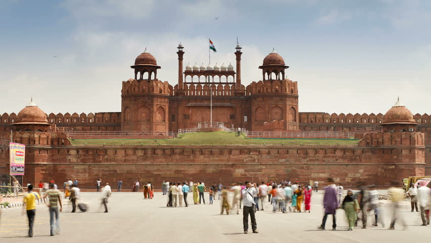 OLD DELHI, INDIA - CIRCA MAY 2011: The Lahore Gate, the red sandstone main gate to the Red Fort, UNESCO World Heritage Site