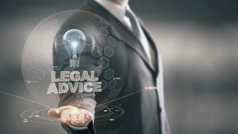 Legal Advice with bulb hologram businessman concept