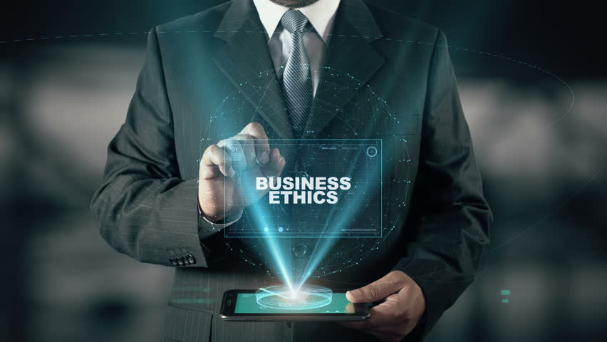 Businessman with Business Ethics hologram concept choose Morality from words | Shutterstock HD Video #25884575