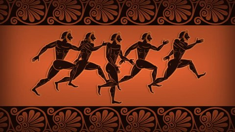 Ancient Greek Runners On Amphora. Animated Olympic Games