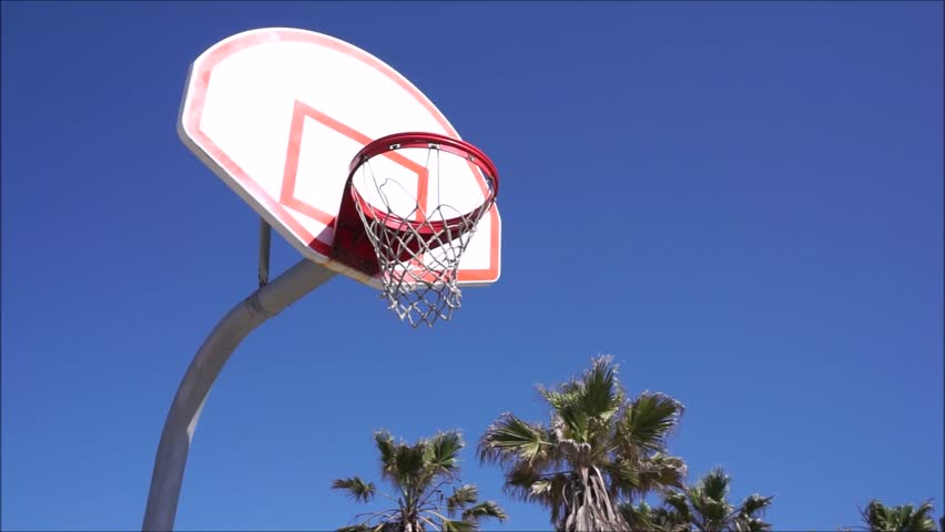 Outdoor Basketball Court At Beach With Palm Trees Stock Footage
