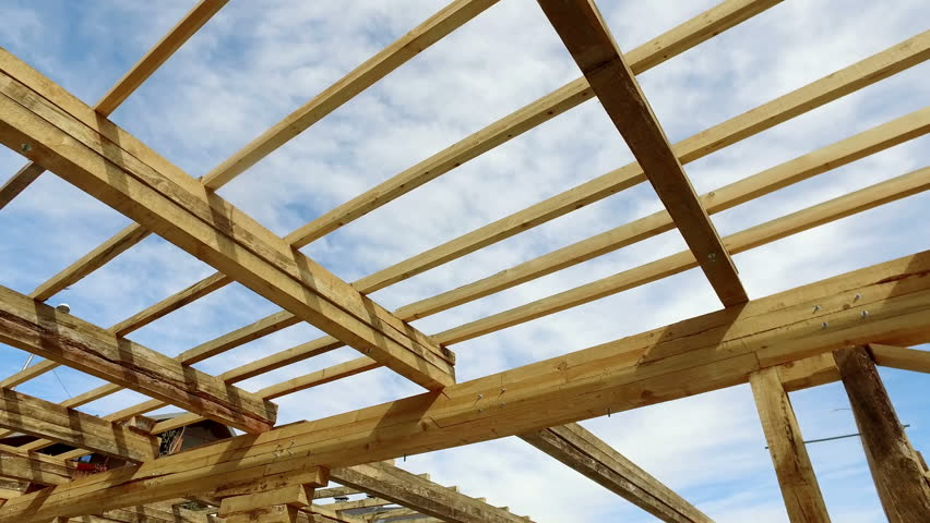 Structure Of A Home Being Built   4K Stock Video Clip