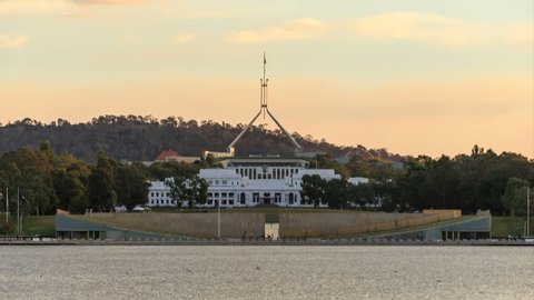 CANBERRA, AUSTRALIA - MAY 22: 4K Day to Night timelapse video of Parliment House, on May 22, 2015 in Canberra, Australia.