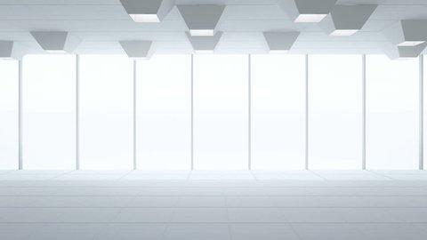 Tiles floor and window in empty showroom, Modern interior design of new office room, White background loop - 3d rendering