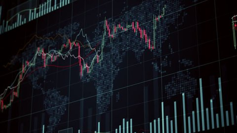 Binary options data on screen, asset values rising and falling, global trade. Electronic chart with binary option statistics