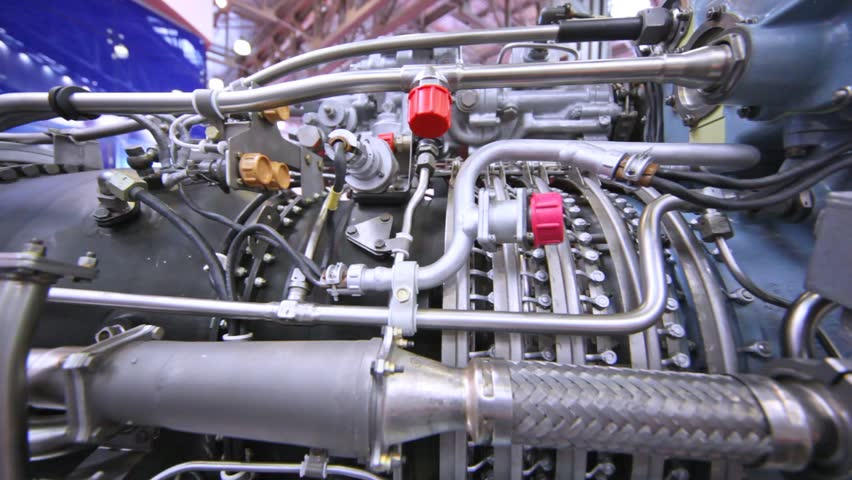 Engine of helicopter stands at exhibition of helicopter industry