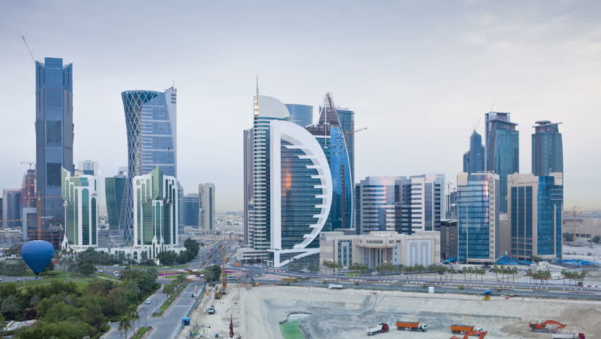 DOHA, QATAR - CIRCA MAY 2011: new skyline of the West Bay central financial district.