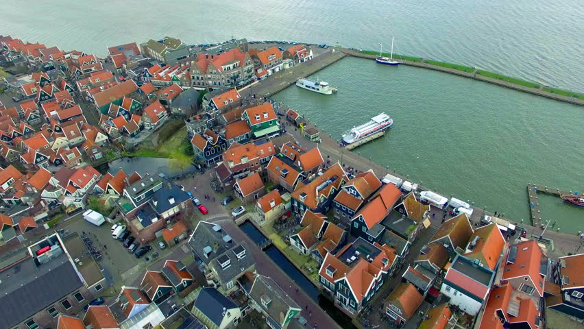 Volendam town in North Holland in the Netherlands Aerial View Of Homes & Boats