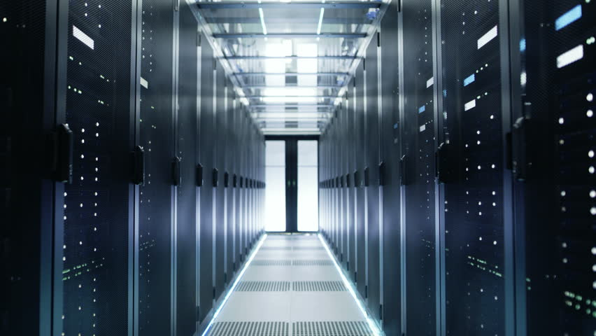 Camera Moves Through Big Working Data Center with Server Racks. Shot on RED EPIC-W 8K Helium Cinema Camera. | Shutterstock HD Video #26008655