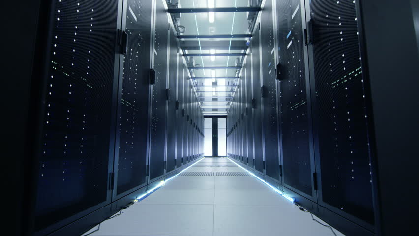 Camera Moves Through Opening Doors Into Data Center. Rack Servers are Ultra Modern and Lit by LED Lights. Shot on RED EPIC-W 8K Helium Cinema Camera. | Shutterstock HD Video #26008670