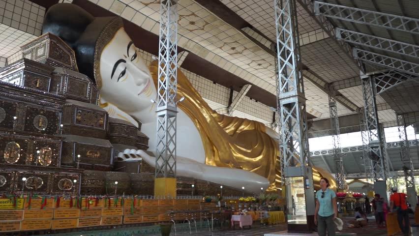 BAGO, MYANMAR - CIRCA APRIL 2017 Shwethalyaung Buddha