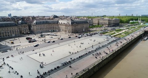 Bordeaux, Aerial view of Quai de lune with place de la bourse